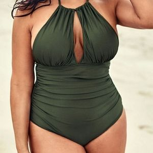 OLIVE TIE HALTER PLUS ONE PIECE SWIMSUIT